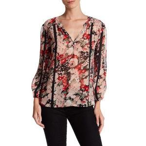 Joie | Eber Contrast Lace Cutout Silk Blouse sz S